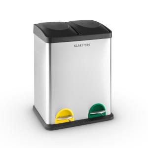 Sistema ecológico 2 x 18 Cubo de basura de acero inoxidable 36 litros Reciclaje