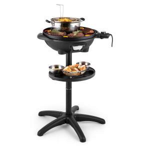 Olla de grill eléctrico 1600W Grill de pie Grill de mesa 40cm Grill Hierro fundido