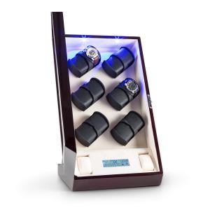 Klingenthal Estuche para relojes Rotación hacia derecha e izquierda 12 relojes LED Táctil Caoba Caoba