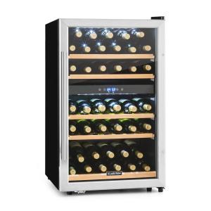 Vinamour 40D Nevera para vino 2 zonas 135 L 41 botellas frontal de acero inoxidable