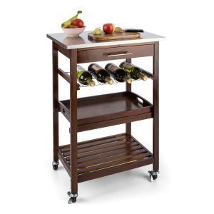 Vermont carro de cocina camarera cajón estante de vino acero inoxidable