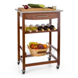Zimmerservice Carrito de cocina y servicio con estante para vinos con placa de granito marrón