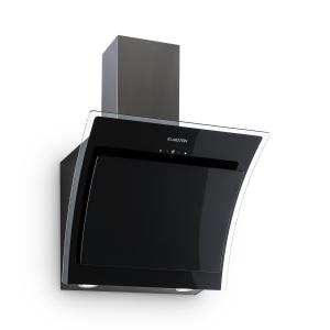 Sabia Campana extractora inclinada Vidrio de seguridad 60 cm Montaje en pared negra