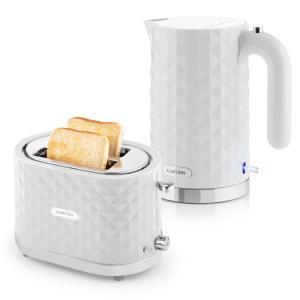 Granada Bianca Set de desayuno | Hervidor de 2000W Tostadora de 1000W | blanco