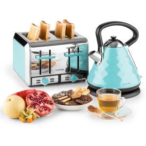 Curacao Azur set de desayuno hervidor de agua tostadora 4 rebanadas azul